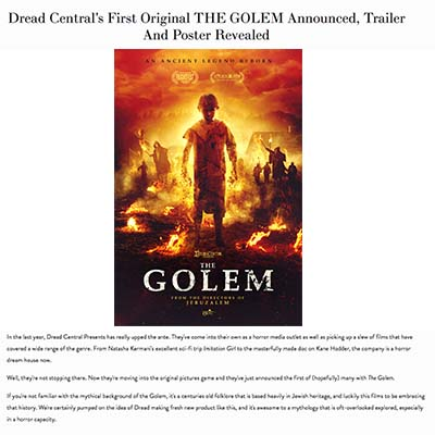 Dread Central's First Original THE GOLEM Announced, Trailer And Poster Revealed