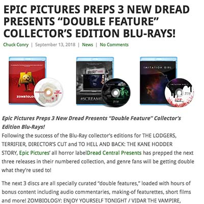 "EPIC PICTURES PREPS 3 NEW DREAD PRESENTS ""DOUBLE FEATURE"" COLLECTOR'S EDITION BLU-RAYS!"