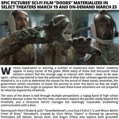 "EPIC PICTURES' SCI-FI FILM ""DOORS"" MATERIALIZES IN SELECT THEATERS MARCH 19 AND ON-DEMAND MARCH 23"