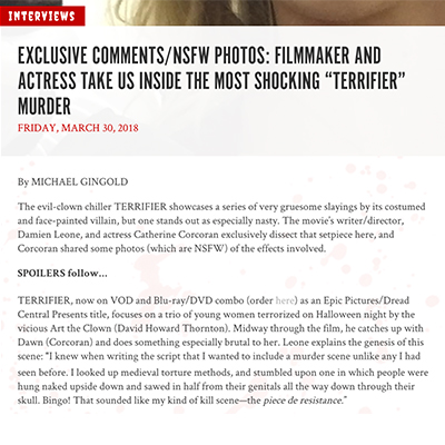 "EXCLUSIVE COMMENTS/NSFW PHOTOS: FILMMAKER AND ACTRESS TAKE US INSIDE THE MOST SHOCKING ""TERRIFIER"" MURDER"