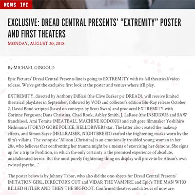 "EXCLUSIVE: DREAD CENTRAL PRESENTS' ""EXTREMITY"" POSTER AND FIRST THEATERS"