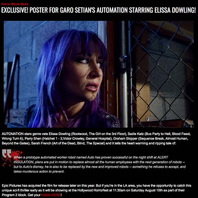 EXCLUSIVE! POSTER FOR GARO SETIAN'S AUTOMATION STARRING ELISSA DOWLING!
