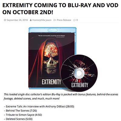 EXTREMITY COMING TO BLU-RAY AND VOD ON OCTOBER 2ND