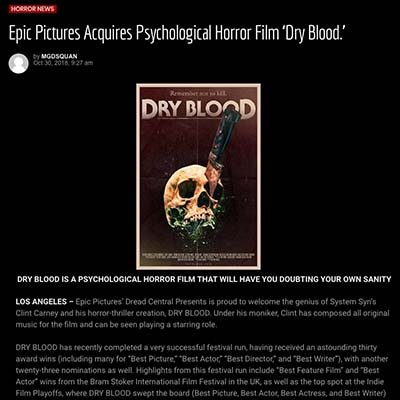 Epic Pictures Acquires Psychological Horror Film 'Dry Blood.'