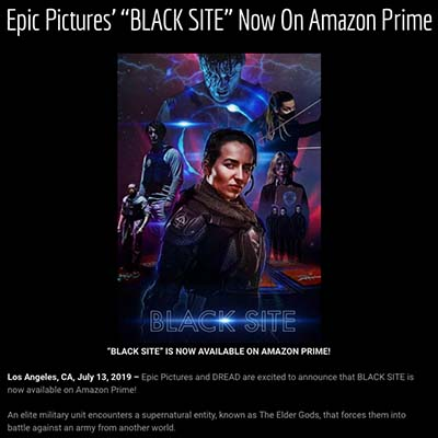 "Epic Pictures' ""BLACK SITE"" Now On Amazon Prime"