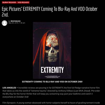Epic Pictures' EXTREMITY Coming To Blu-Ray And VOD October 2nd.
