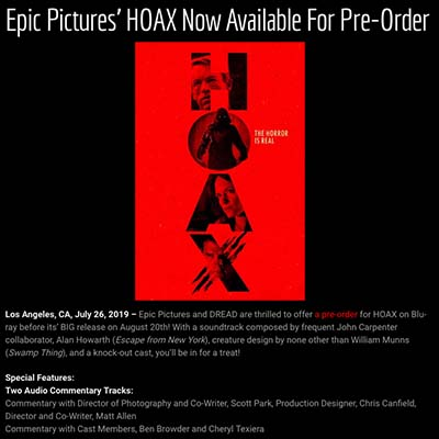 Epic Pictures' HOAX Now Available For Pre-Order