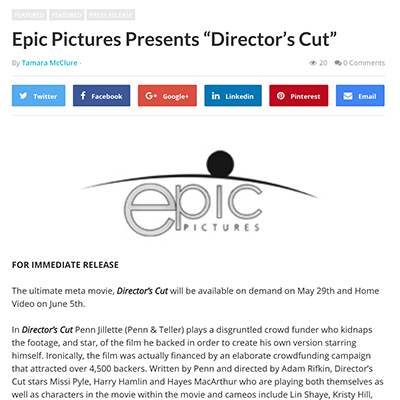 "Epic Pictures Presents ""Director's Cut"""