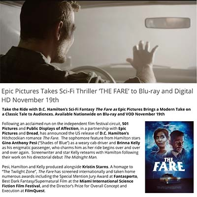 Epic Pictures Takes Sci-Fi Thriller 'THE FARE' to Blu-ray and Digital HD November 19th