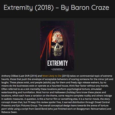 Extremity (2018) – By Baron Craze