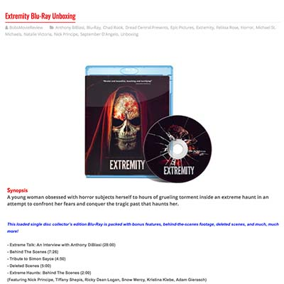 Extremity Blu-Ray Unboxing