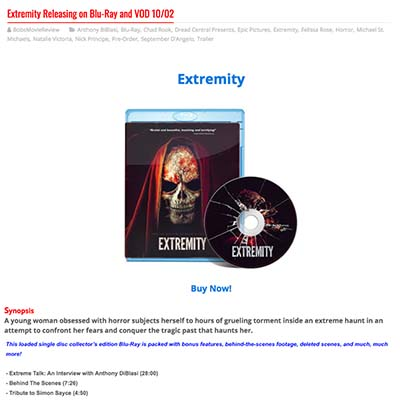 Extremity Releasing on Blu-Ray and VOD 10/02