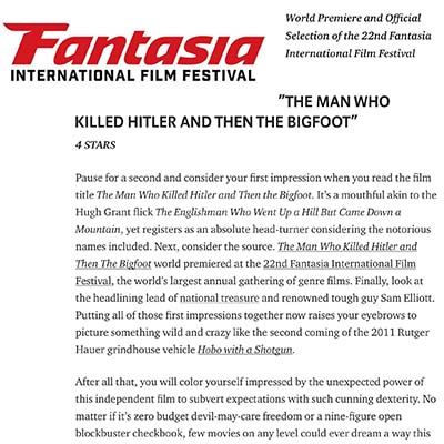 "FANTASIA 2018 REVIEW: ""The Man Who Killed Hitler and Then The Bigfoot"""
