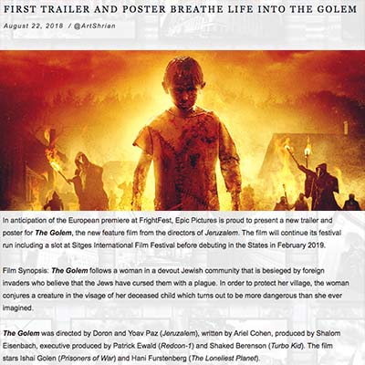 FIRST TRAILER AND POSTER BREATHE LIFE INTO THE GOLEM