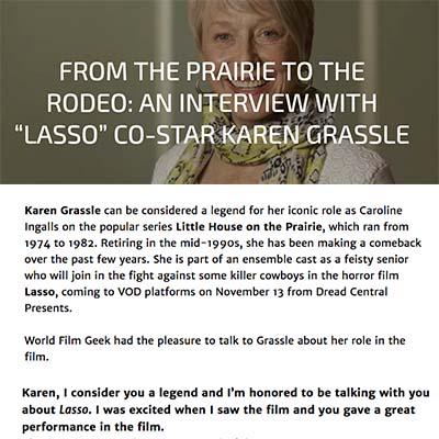 "FROM THE PRAIRIE TO THE RODEO: AN INTERVIEW WITH ""LASSO"" CO-STAR KAREN GRASSLE"