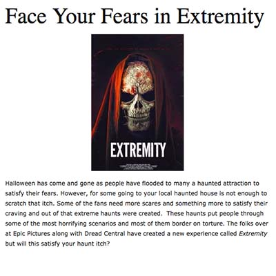 Face Your Fears in Extremity