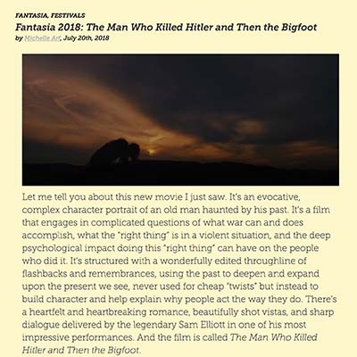 Fantasia 2018: 'The Man Who Killed Hitler and Then the Bigfoot'