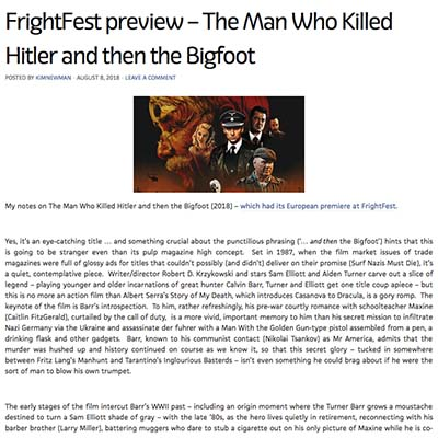 FrightFest preview – The Man Who Killed Hitler and then the Bigfoot