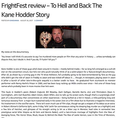 FrightFest review – To Hell and Back The Kane Hodder Story
