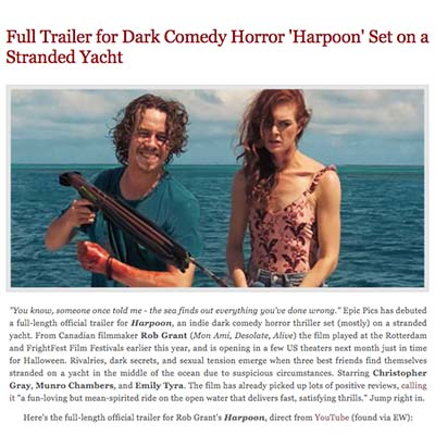Full Trailer for Dark Comedy Horror 'Harpoon' Set on a Stranded Yacht