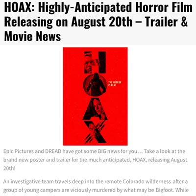 HOAX: Highly-Anticipated Horror Film Releasing on August 20th – Trailer & Movie News