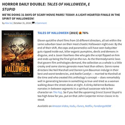 HORROR DAILY DOUBLE: TALES OF HALLOWEEN, ERNEST SCARED STUPID WE'RE DOING 31 DAYS OF SCARY MOVIE PAIRS! TODAY: A LIGHT-HEARTED FINALE IN THE SPIRIT OF HALLOWEEN!