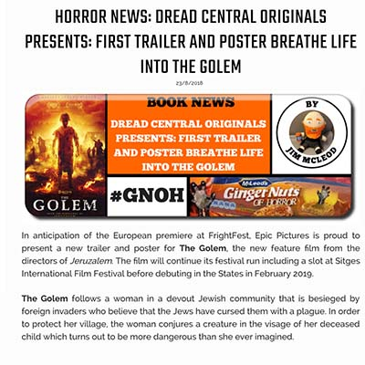 HORROR NEWS: DREAD CENTRAL ORIGINALS PRESENTS: FIRST TRAILER AND POSTER BREATHE LIFE INTO THE GOLEM