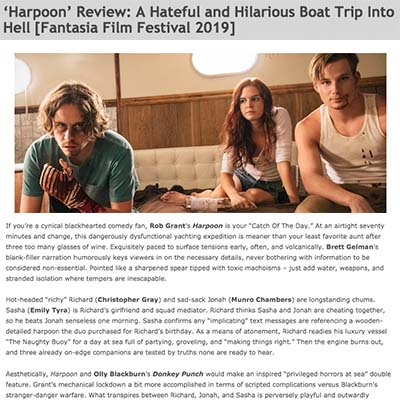 'Harpoon' Review: A Hateful and Hilarious Boat Trip Into Hell [Fantasia Film Festival 2019]
