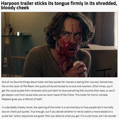 Harpoon trailer sticks its tongue firmly in its shredded, bloody cheek