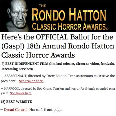 Here's the OFFICIAL Ballot for the (Gasp!) 18th Annual Rondo Hatton Classic Horror Awards