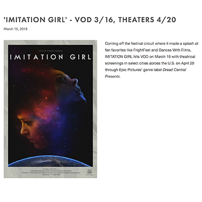 'IMITATION GIRL' - VOD 3/16, THEATERS 4/20