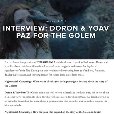 INTERVIEW: DORON & YOAV PAZ FOR THE GOLEM