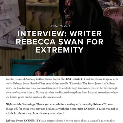 INTERVIEW: WRITER REBECCA SWAN FOR EXTREMITY