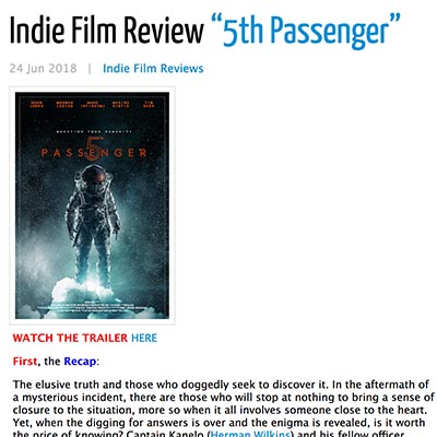 "Indie Film Review ""5th Passenger"""
