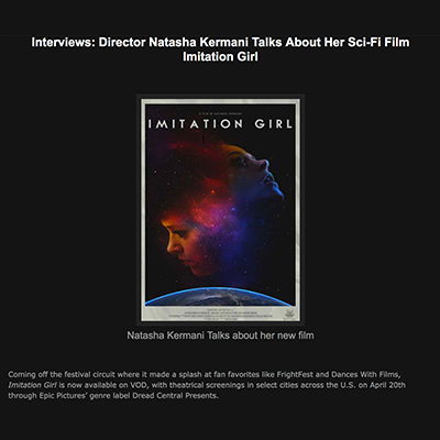 Interviews: Director Natasha Kermani Talks About Her Sci-Fi Film Imitation Girl