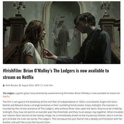 #IrishFilm: Brian O'Malley's The Lodgers is now available to stream on Netflix