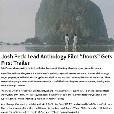 Josh Peck Lead Anthology Film