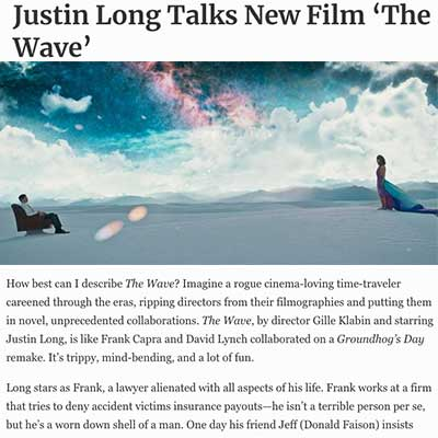 Justin Long Talks New Film 'The Wave'