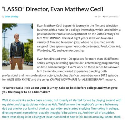 """LASSO"" Director, Evan Matthew Cecil"