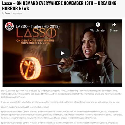 Lasso – ON DEMAND EVERYWHERE NOVEMBER 13TH – BREAKING HORROR NEWS