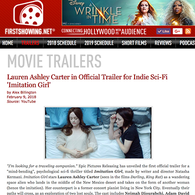 Lauren Ashley Carter in Official Trailer for Indie Sci-Fi 'Imitation Girl'