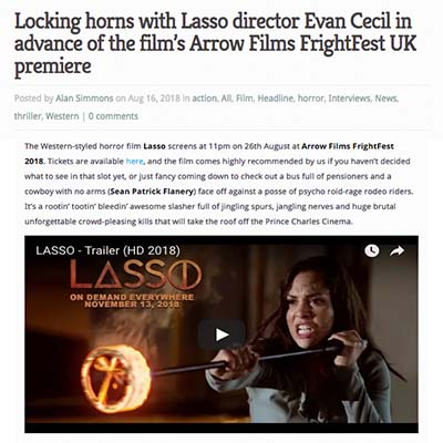 Locking horns with Lasso director Evan Cecil in advance of the film's Arrow Films FrightFest UK premiere