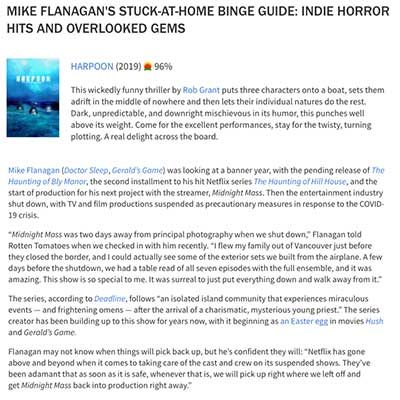 MIKE FLANAGAN'S STUCK-AT-HOME BINGE GUIDE: INDIE HORROR HITS AND OVERLOOKED GEMS