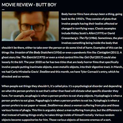 MOVIE REVIEW - BUTT BOY
