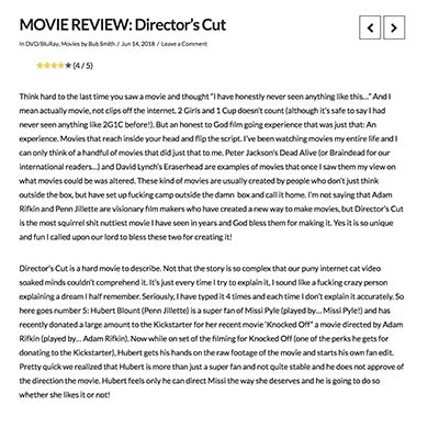 MOVIE REVIEW: Director's Cut
