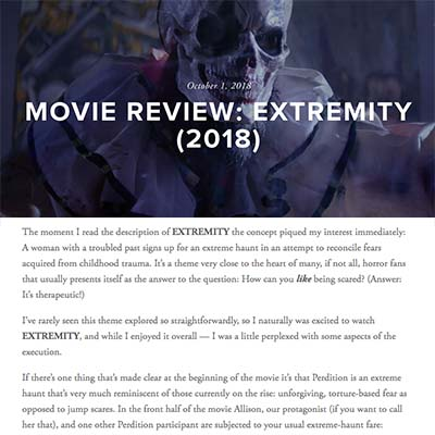 MOVIE REVIEW: EXTREMITY (2018)