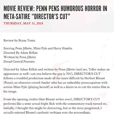 "MOVIE REVIEW: PENN PENS HUMOROUS HORROR IN META-SATIRE ""DIRECTOR'S CUT"""