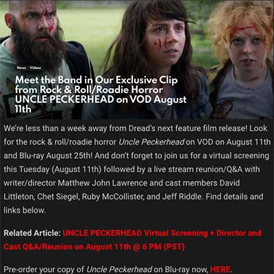 Meet the Band in Our Exclusive Clip from Rock & Roll/Roadie Horror UNCLE PECKERHEAD on VOD August 11th