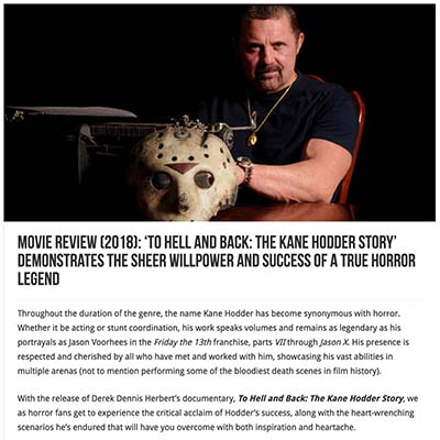Movie Review (2018): 'To Hell and Back: The Kane Hodder Story' Demonstrates the Sheer Willpower and Success of a True Horror Legend