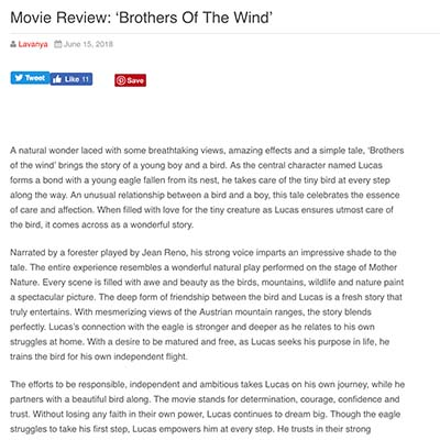 Movie Review: 'Brothers Of The Wind'